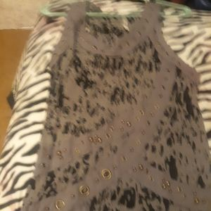 Long tank grea and black size large